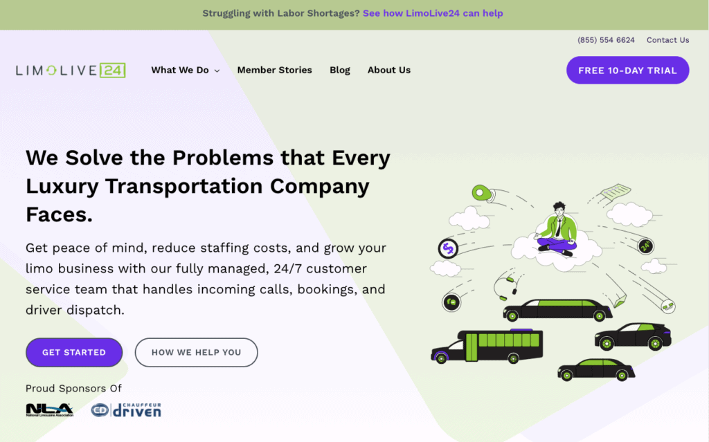 Colorful webpage design with illustrations for a limousine call center.