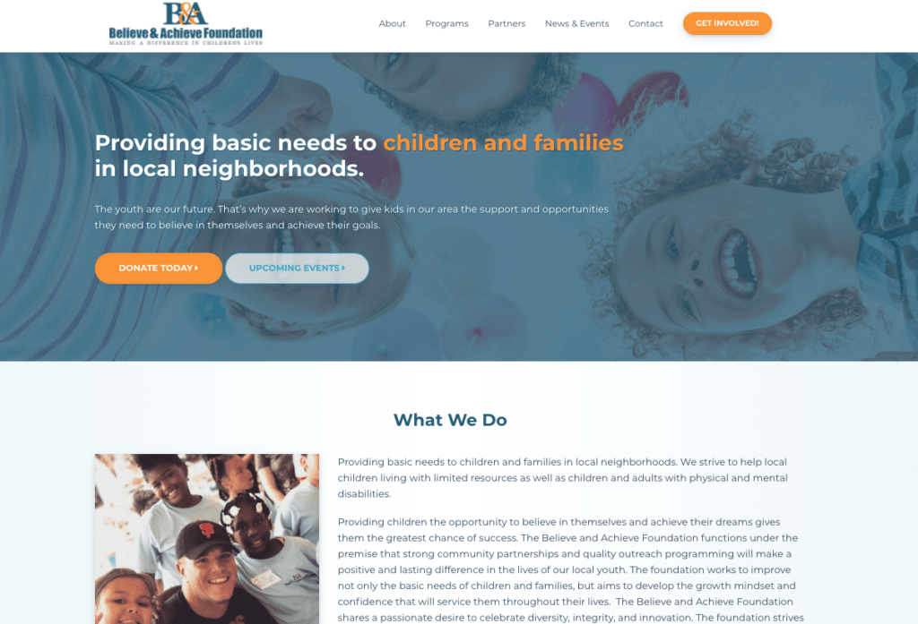 Website layout for a nonprofit supporting local youth