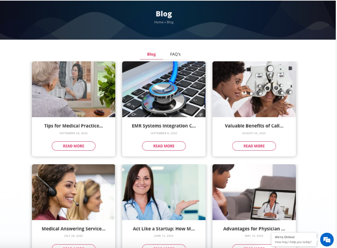 Blog archive full of topics related to medical answering services.