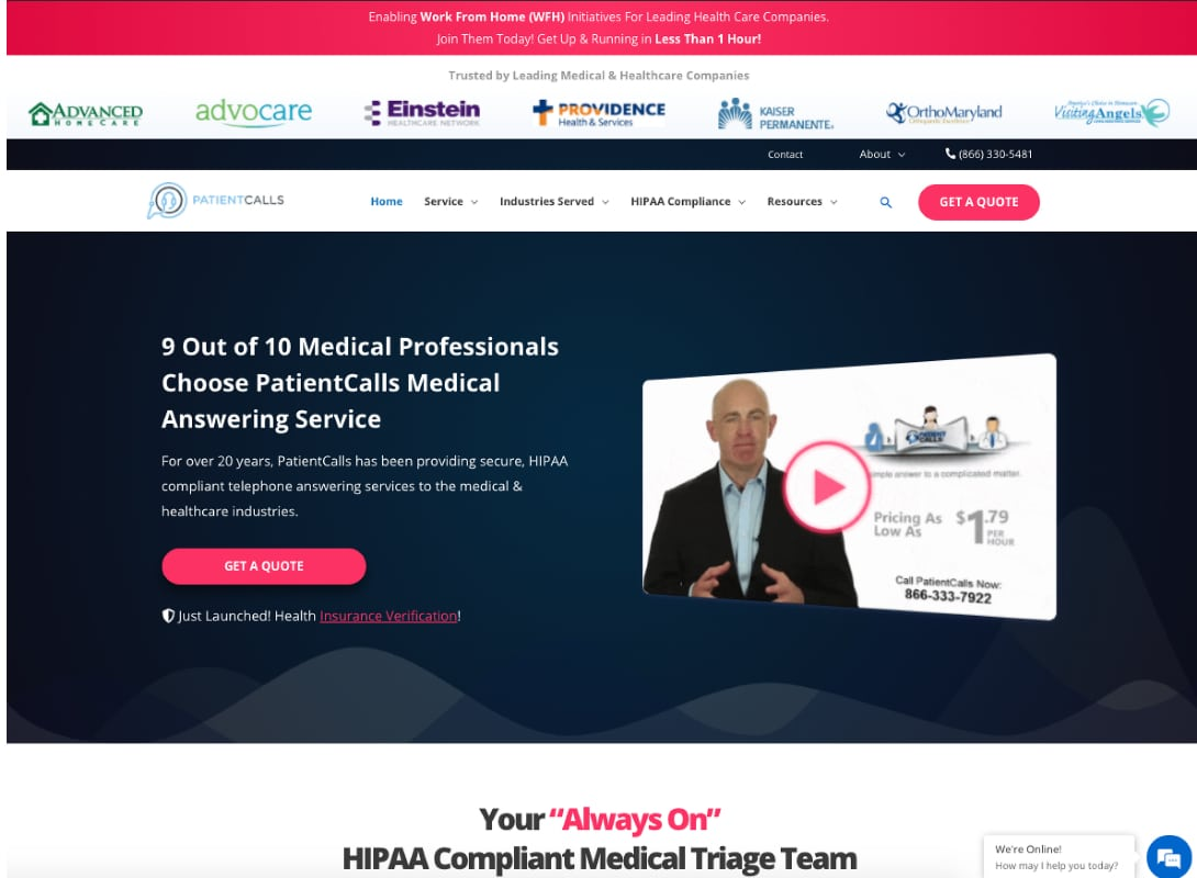 Screen shot of well-designed new website
