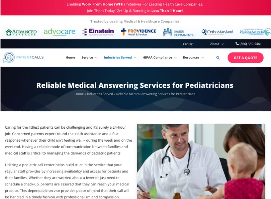 Web page designed for doctor services.