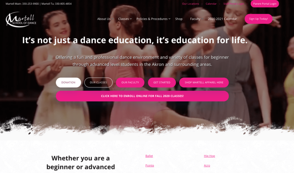 The homepage video of Martell's School of Dance website