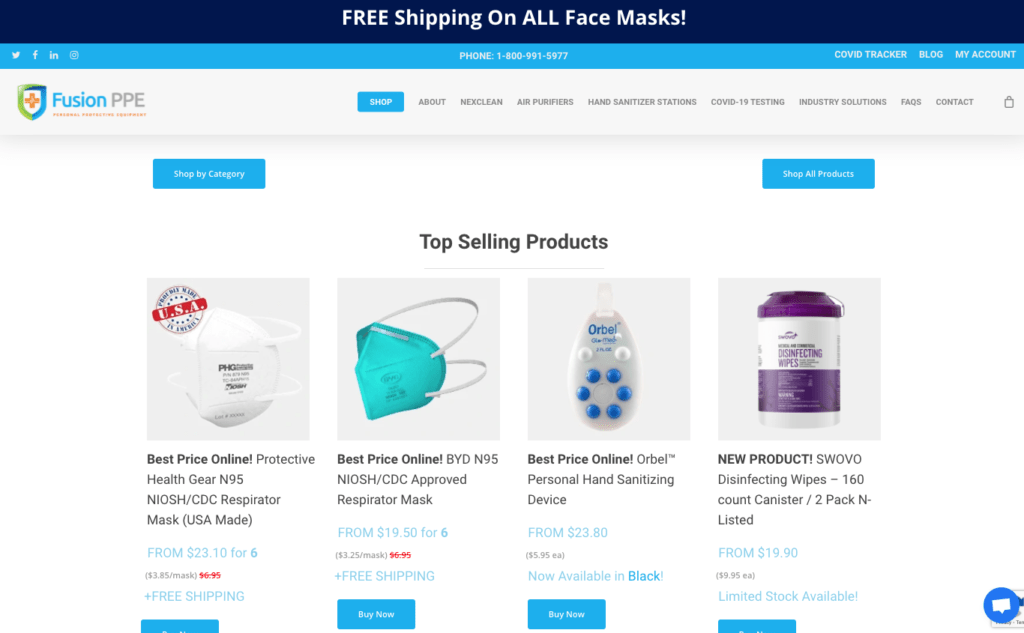 Website for selling medical devices.