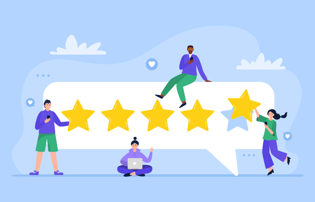 Illustration shows business owners building good customer reviews