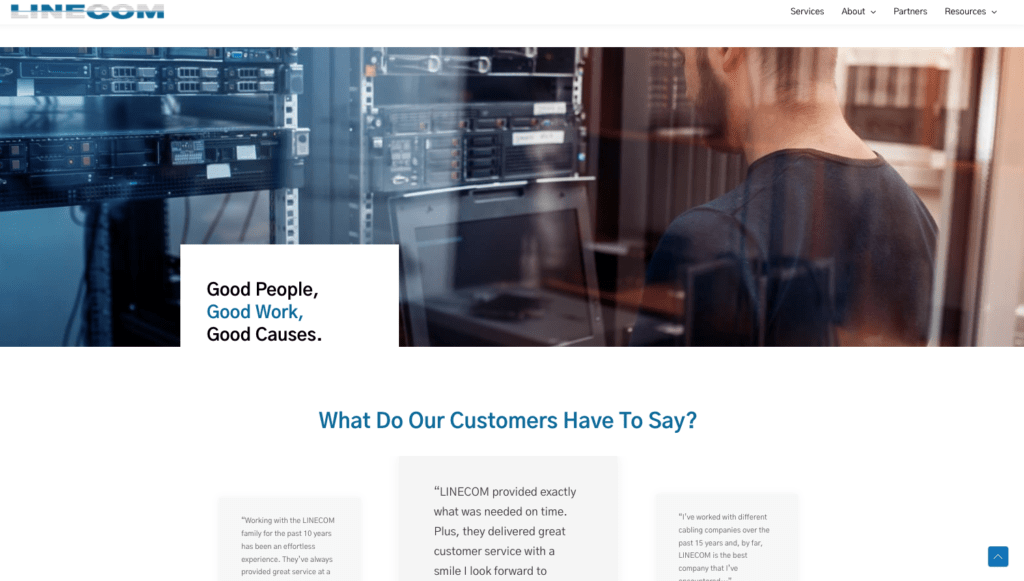 Homepage design for a network cable company